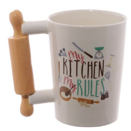 "Wooden Rolling Pin Shaped Handle ""My Kitchen, My Rules"" Mug"